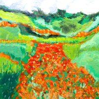 SUMMER GARDENS encaustic paintings by Larain Matheson
