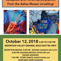 Out Of The Ashes, Fire Anniversary Art Reception and Performance plus Art From the Ashes Mosaic Unveiling