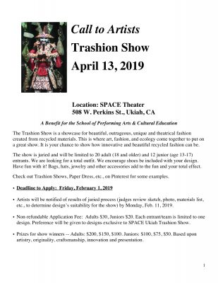 Call to Artist for the SPACE Trashion Show