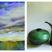 The Dolphin Gallery Presents Carol Chell, watercolors, and Brenda Phillips, ceramics.