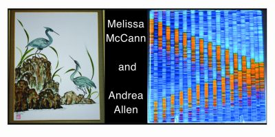 Melissa McCann's Fused Glass, Andrea Allen's Chinese Brush Painting. Opening Reception October 4