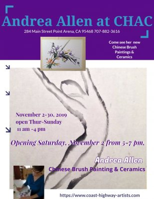 Coast Highway Art Collective presents member Andrea Allen Chinese Brush Painting