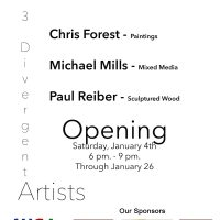 3 Divergent Artists Opens January 4th at the Willits Center for the Arts