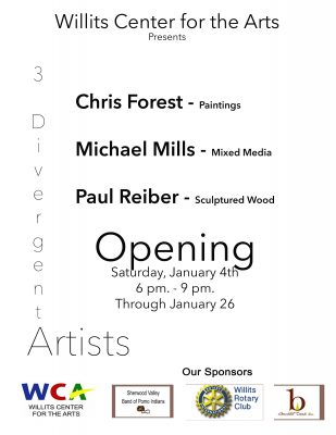 3 Divergent Artists Opens January 4th at the Willi...