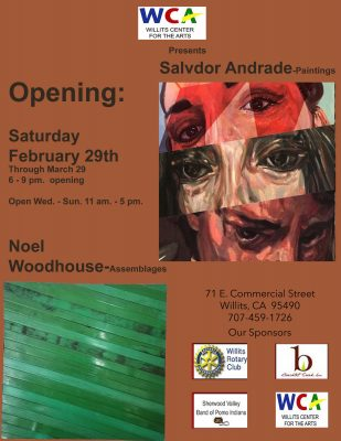 Salvadore Andrade and Noel Woodhouse Opens February 29 at the Willits Center for the Arts