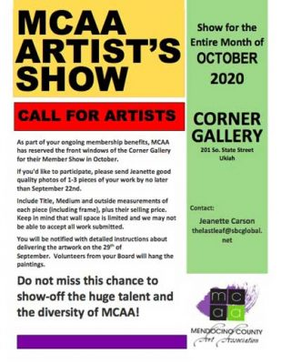 Mendocino County Art Association CALL FOR ARTISTS for October exhibit at the CORNER GALLERY